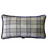 Beige with Navy Overplaid / Blue Velvet