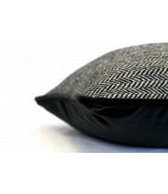 Black & White Herringbone / Black Velvet